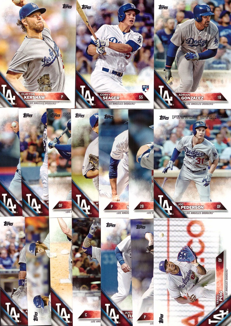 2016 Topps Dodgers Baseball Card Team Set