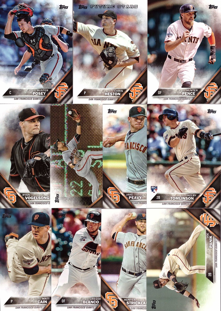 2016 Topps Giants Baseball Card Team Set
