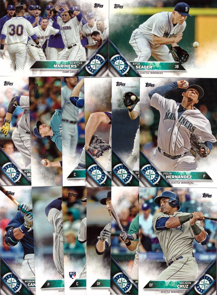 2016 Topps Mariners Baseball Card Team Set
