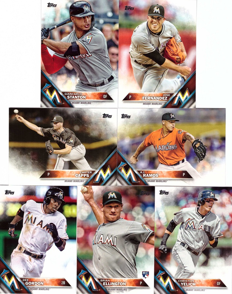 2016 Topps Marlins Baseball Card Team Set