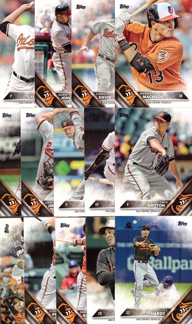 2016 Topps Orioles Baseball Card Team Set