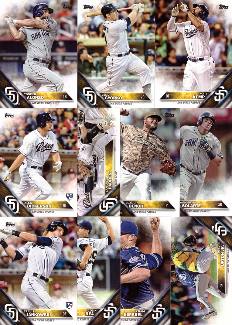 2016 Topps Padres Baseball Card Team Set