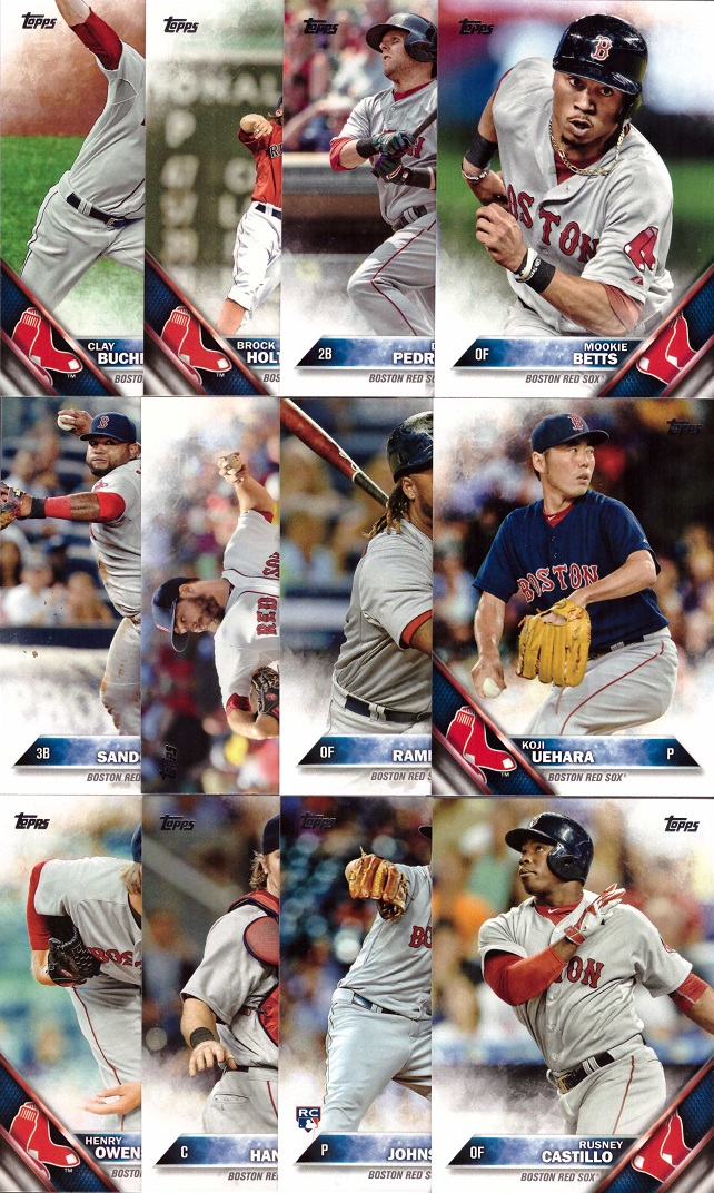 2016 Topps Boston Red Sox Baseball Card Team Set