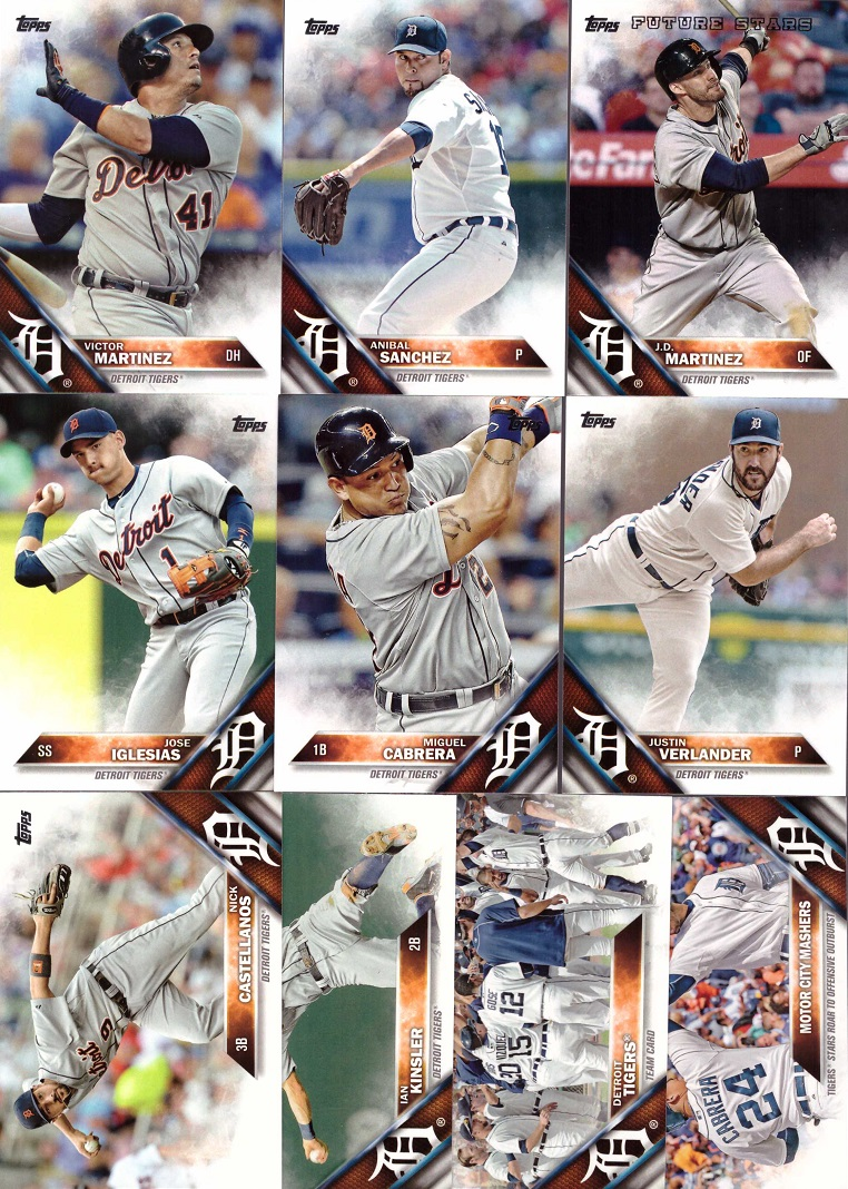 2016 Topps Tigers Baseball Card Team Set