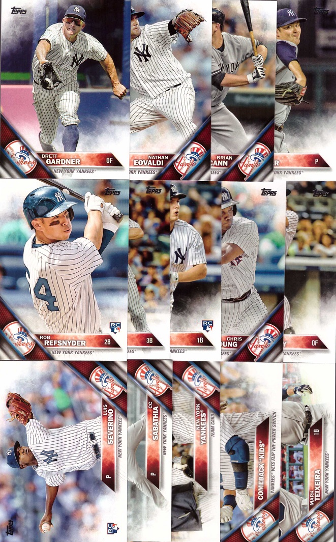 2016 Topps Yankees Baseball Card Team Set