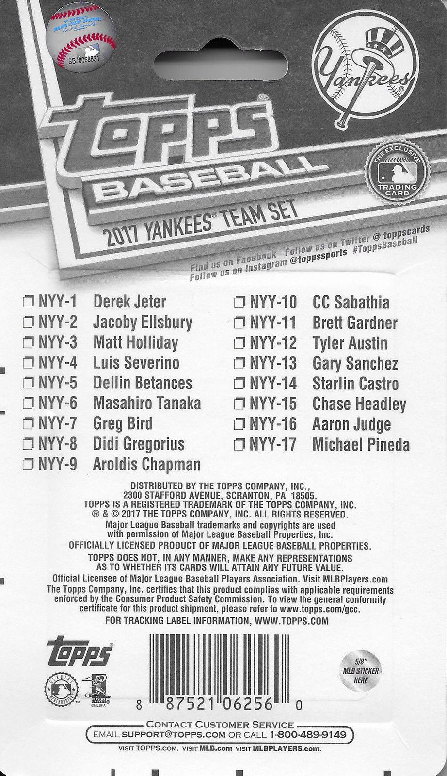 3d069da6 Red Sox 2017 Topps Team Set Checklist. New York Yankees 2017 Topps Factory  Sealed ...