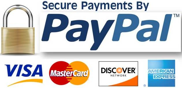 PayPal, VISA, MasterCard, Discover, and American Express accepted