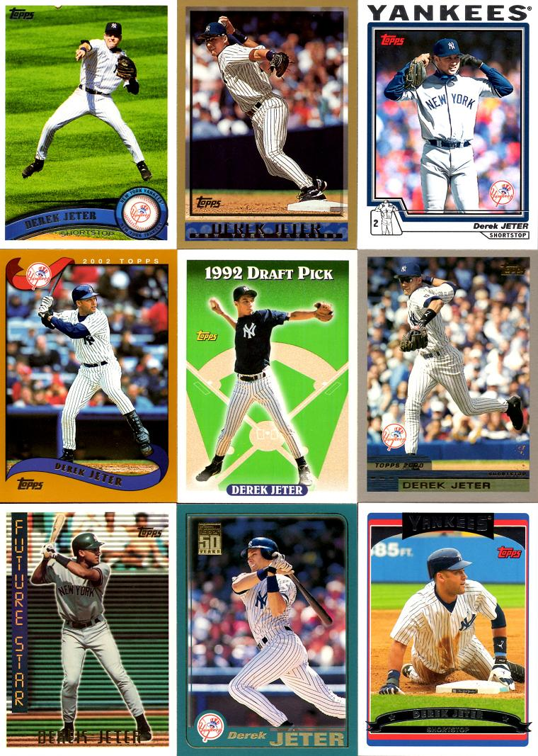 Derek Jeter 23 Years Of Topps Baseball Cards Complete Set