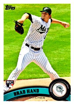 2011 Topps Update Baseball Brad Hand Rookie Card