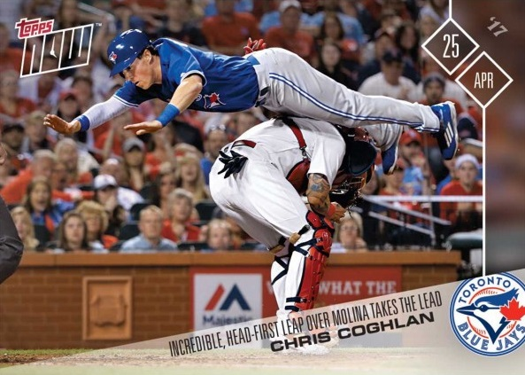 2017 Topps Now Chris Coghlan Jump Leap Slide Dive Baseball Card