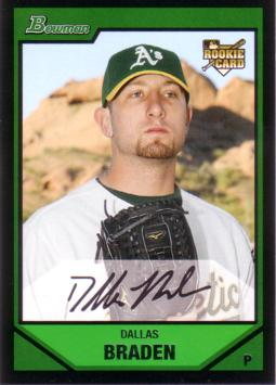 2007 Bowman Draft Picks Dallas Braden Rookie Card