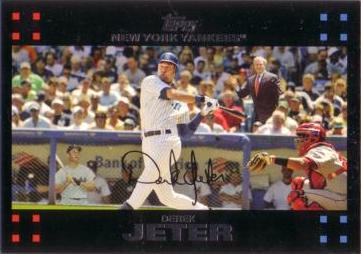 2007 Topps Derek Jeter with George Bush and Mickey Mantle Baseball Card