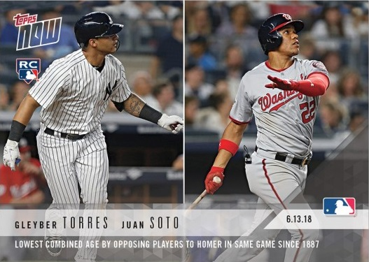 2018 Topps Now Baseball Gleyber Torres and Juan Soto Rookie Card