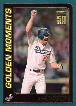 2001 Topps Kirk Gibson Hits Home Run in 1988 World Series Baseball Card