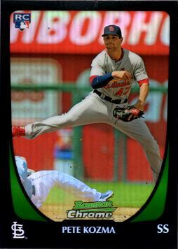 2011 Bowman Chrome Draft Refractor Pete Kozma Rookie Card