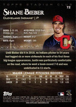 Back of Shane Bieber Baseball Error Card - Justin