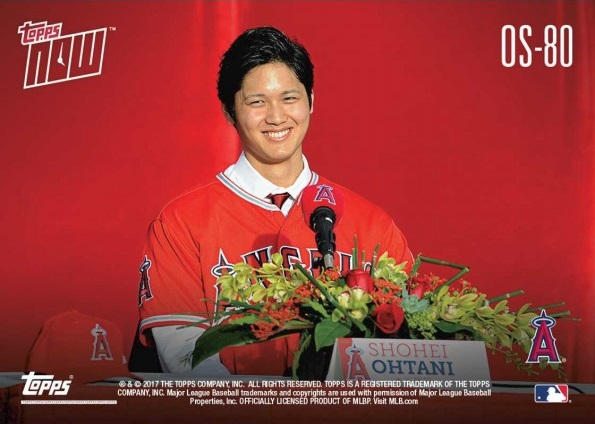 Back of Shohei Ohtani Topps Now Baseball Card