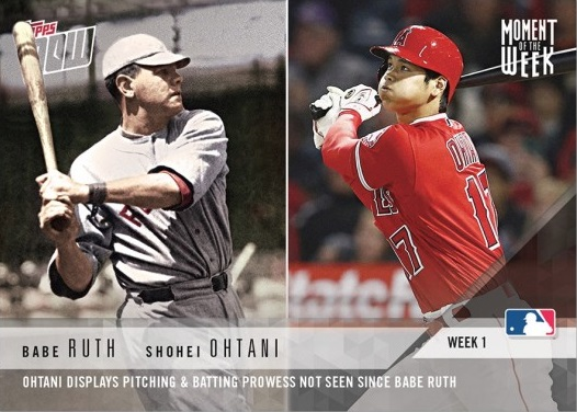 2018 Topps Now Babe Ruth and Shohei Ohtani Baseball Card