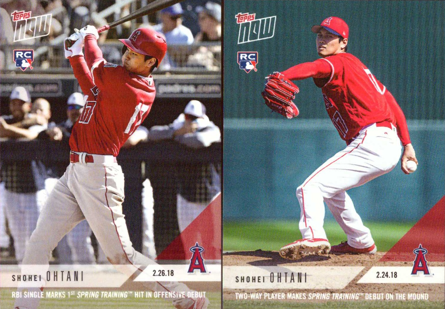 Shohei Ohtani Topps Now Batting and Pitching Rookie Cards