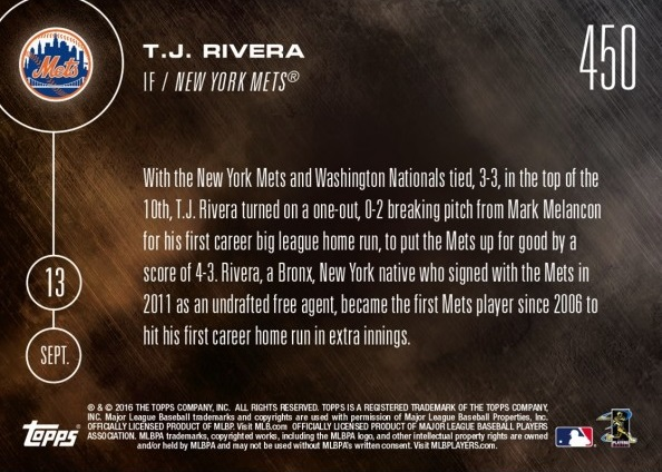 Back of TJ Rivera Baseball Card