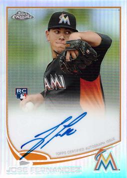 2013 Topps Chrome Refractor Jose Fernandez Certified Autograph Rookie Card