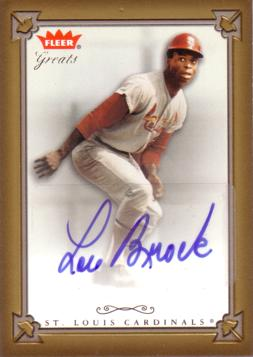Lou Brock Certified Autograph Card