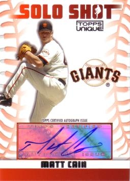 Matt Cain Authentic Autograph Card