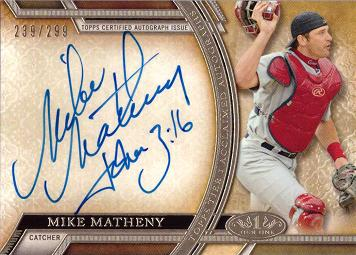2015 Topps Tier One Mike Matheny Certified Autograph Baseball Card
