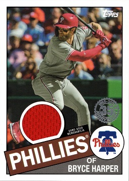 2020 Topps 1985 Relics Bryce Harper Phillies Game Worn Jersey Baseball Card