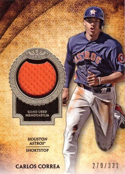 Carlos Correa Game Worn Jersey Card