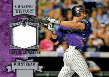 Carlos Gonzalez Game Worn Jersey Card