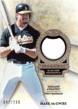 2017 Topps Tier One Relics Mark McGwire Game Worn Jersey Baseball Card