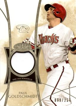 2014 Topps Tier One Paul Goldschmidt Game Worn Jersey Baseball Card