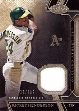 2015 Topps Tier One Relics Rickey Henderson Game Worn Jersey Baseball Card