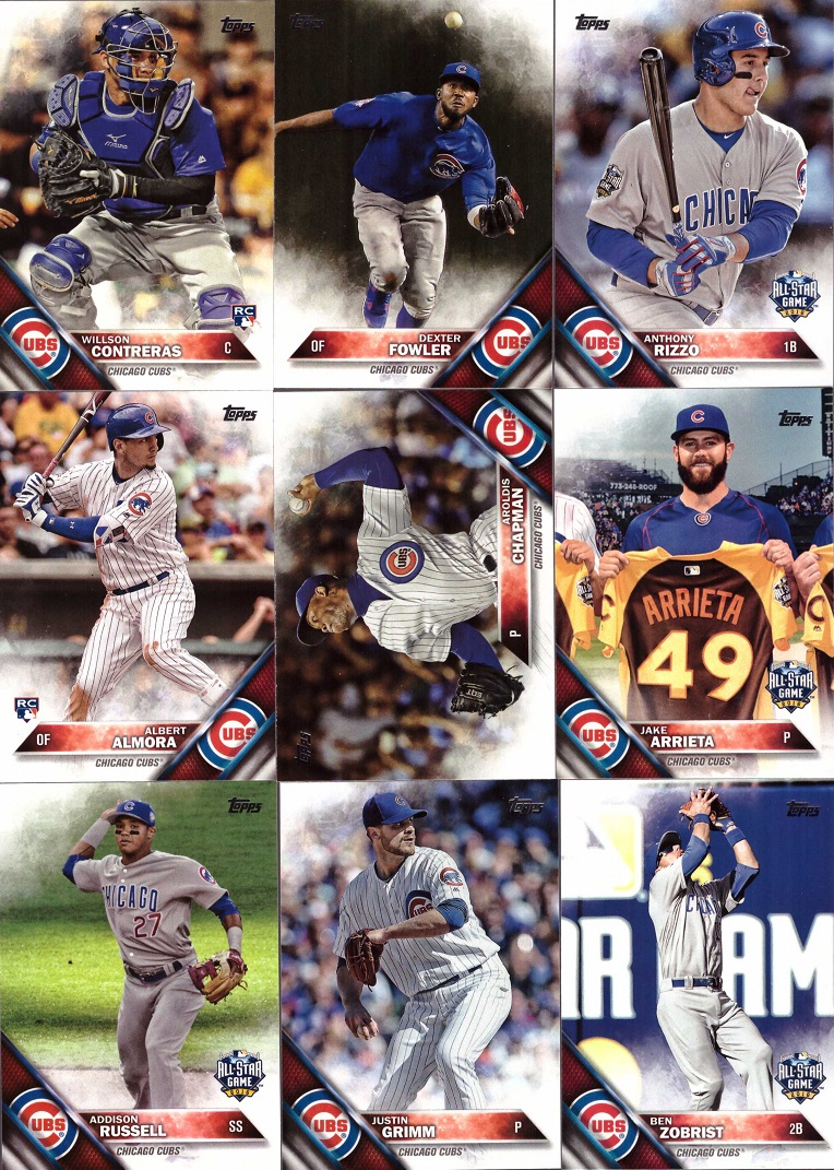 2016 Topps Chicago Cubs Baseball Card Team Set